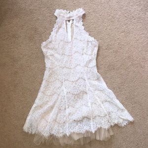 Francesca's: White lace dress with collar necklace